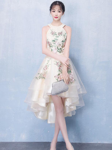 Ivory High Low Halter Tulle Layers Homecoming Dress, High Low Party Dress Prom Dress