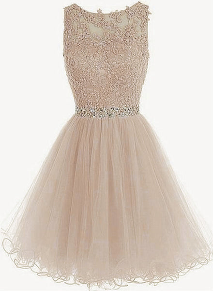 Charming Light Champagne Short Lace Beaded Party Dress, Tulle Homecoming Dress Formal Dress