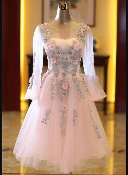 Adorable Pink Tulle Knee Length Long Sleeves Party Dress, Pink Homecoming Dress