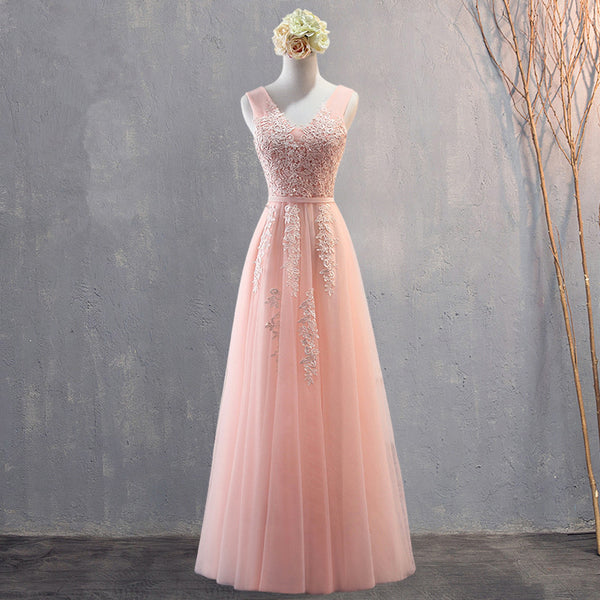Charming Pearl Pink Tulle Simple Party Dress with Lace, V-neckline Long Formal Dress