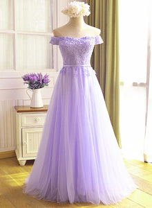 A-line Tulle Light Purple Off Shoulder Long Prom Dress, Lace Applique Evening Dress