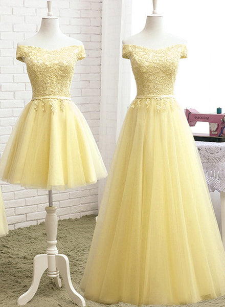 Lovely Light Yellow Tulle Off Shoulder Bridesmaid Dress with Lace, Tulle Prom Dress