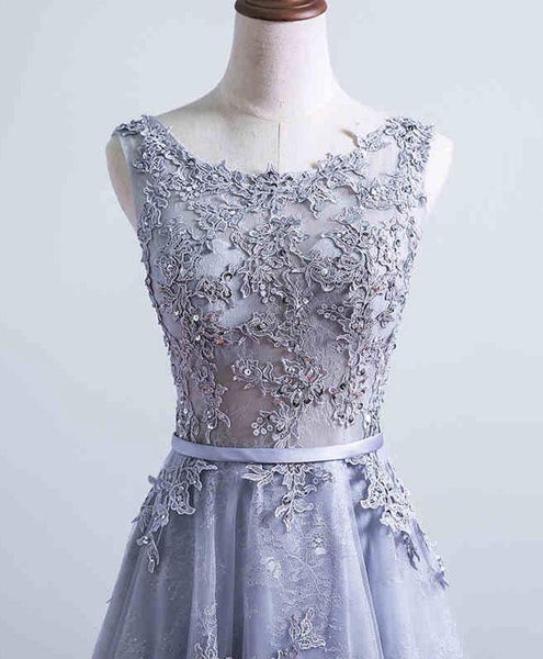 Beautiful Grey Lace Long Party Dress, Elegant Long Formal Dress