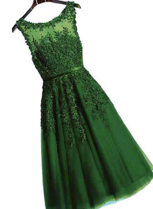 Dark Green Round Neckline Tea Length Lace Party Dress, Wedding Party Dress