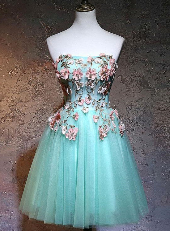 Adorable Flower Lace Applique Mint Green Homecoming Dress, Short Prom Dress