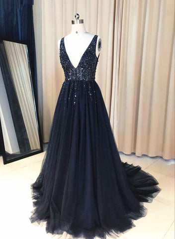 Sparkly Deep V neck  Beaded Prom Dress, Long Tulle Backless See Through Evening Dress