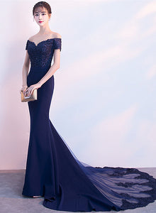 Beautiful Navy Blue Mermaid Lace Long Party Dress, Off Shoulder Evening Dress