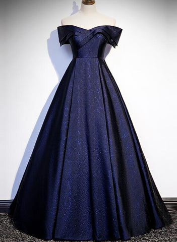 Navy Blue Satin Off Shoulder Long Prom Dress, Blue A-line Formal Dress, Evening Dress