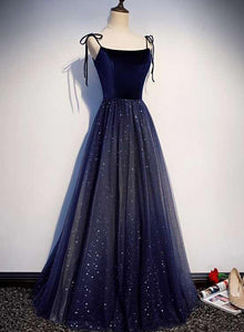 Beautiful Navy Blue Tulle Straps Long Velvet Party Dress, Blue Prom Dress 2021