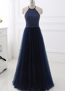 Elegant Navy Blue Halter Beaded Long Evening Dress, Beautiful Prom Dress