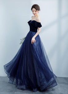 Navy Blue Off Shoulder Velvet Sweetheart Party Dress, Shiny Tulle Long Prom Dress Party Dress