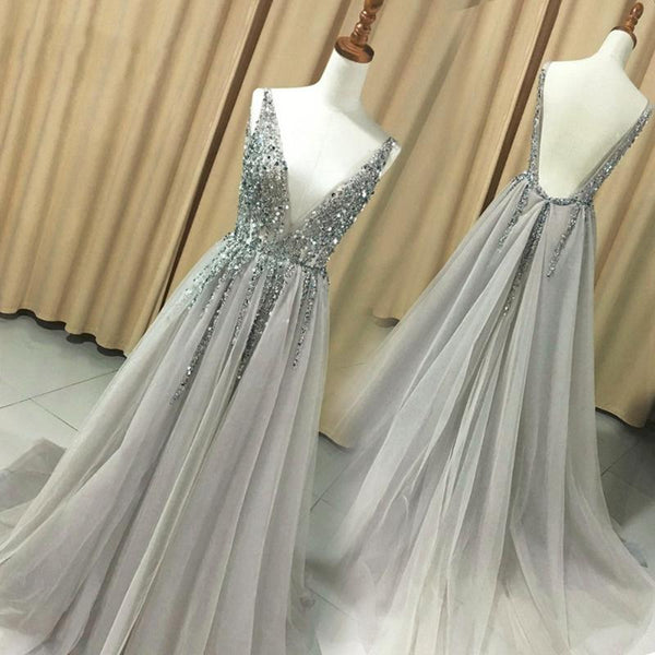 Charming Grey Tulle V-neckline Long Beaded Party Dress, Sparkle Sexy Prom Dress 2020