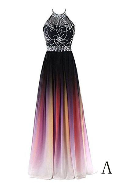 Beautiful Gradient Beaded A-line Party Gown, Long Junior Prom Dress 2019