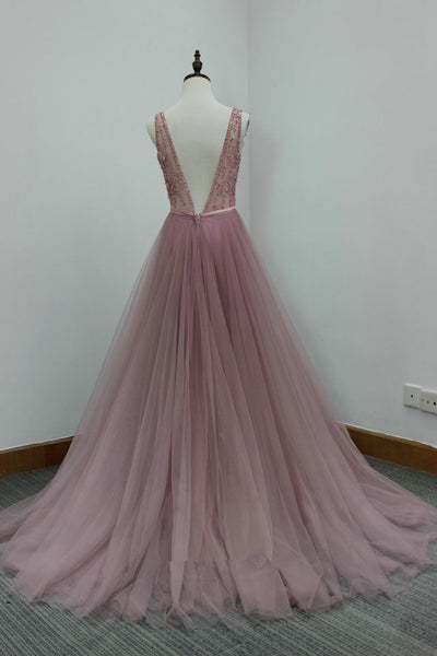 Beautiful Dark Pink Tulle V Back Long Formal Dress, Beaded Prom Dress