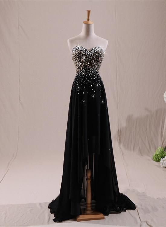 Charming High Low Black Beaded Prom Dress 2019, Black Formal Dress, Lovely Gowns