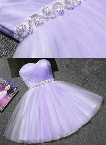 Lovely Sweetheart Tulle with Belt Homecoming Dress, Short Prom Dress