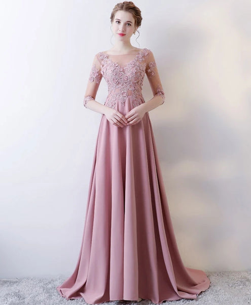 Elegant Long A-line Prom Dress with Flower, Pink Bridesmaid Dress Evening Gowns
