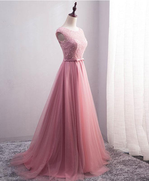 High Quality Pink Tulle Long Party Dress, Pink Beaded Prom Dress