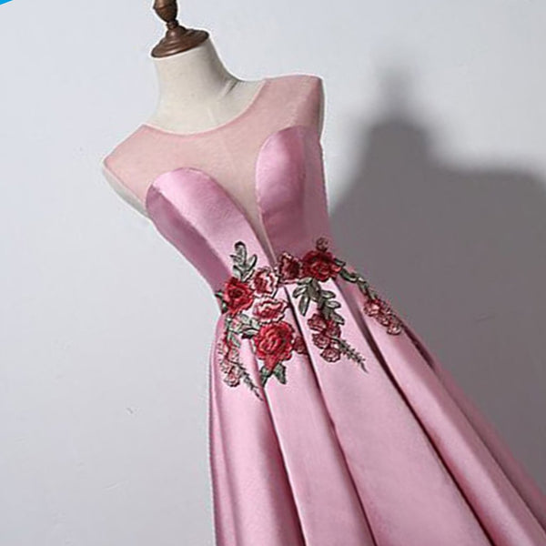 Pretty A-line Scoop Neck Long Pink Satin Party Dress with appliqués, Evening Gowns