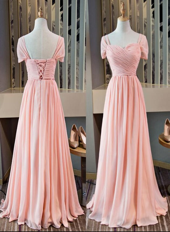 Pink Chiffon Cap Sleeves Long Bridesmaid Dress, Floor Length Pink Party Dress