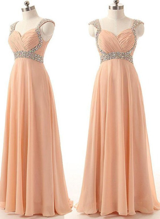 Pearl Pink Chiffon Beaded Long Prom Dress. A-line Floor Length Bridesmaid Dress