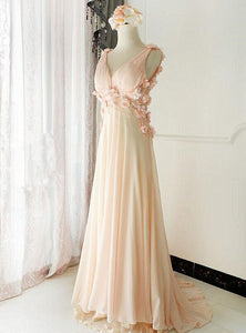 Charming Light Pink V Neck Court Train  Long Party Dress, Long Chiffon Prom Dress