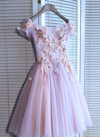 Fashionable Pink Short Sleeves Tulle Knee Length Homecoming Dress, Pink Prom Dress