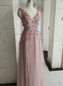 High Quality Pink Flowers and Beaded Long V-neckline Party Dress, A-line Tulle Prom Dress