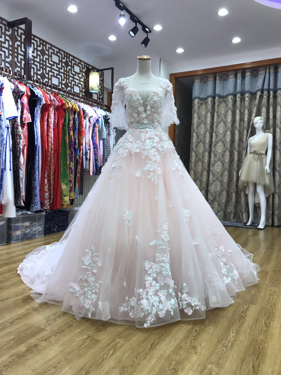 Light Pink Tulle Long Flower Lace Formal Dress, Pink Tulle Sweet 16 Dresses