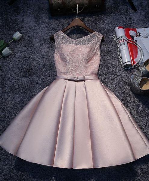 Adorable Pink Satin Short Party Dress, Lace Homecoming Dress Prom Dress