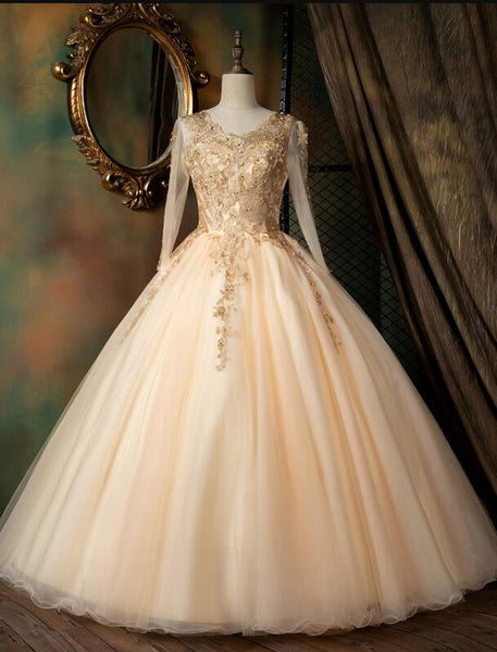 Beautiful Pearl Pink Long Sleeves Formal Dress with Lace Applique, Pink Formal Gown