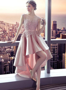 Charming High Low Pink Lace Round Neckline Prom Dress, Pink Homecoming Dress