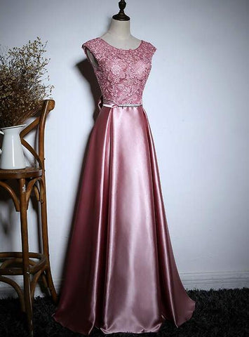 Elegant Pink Evening Dress Long, Lace and Satin Formal Dress with Bow