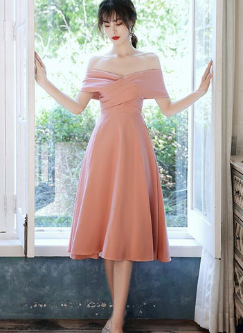 Simple Pink Off Shoulder Short Bridesmaid Dress, Pink Prom Dress Homecoming Dress