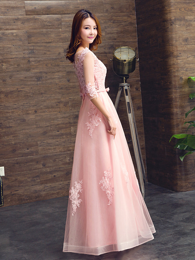 Pink Tulle A-line Prom Dress with Lace, Simple Pretty Bridesmaid Dress, Party Dress