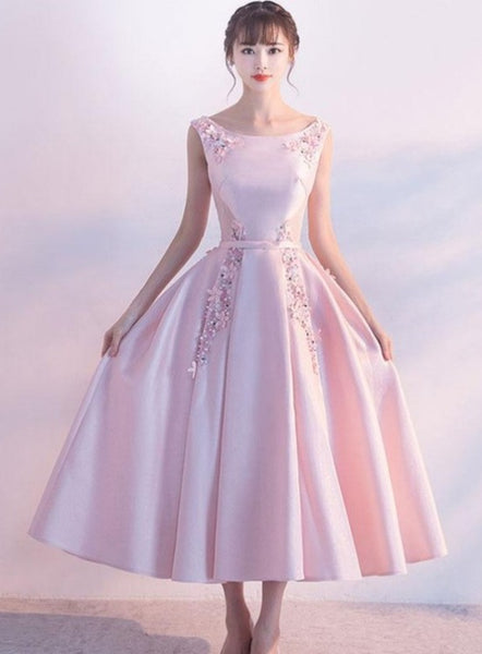 Chic Pink Satin and Lace Bridesmaid Dress with Beadings, Pink Tea Length Prom Dress
