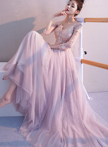 Pink Tulle Long Party Dress 2020, Pink Long Sleeves Formal Dress Bridesmaid Dress