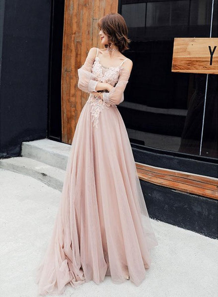 Light Pink Long Sleeves Tulle Formal Dress, Pink A-line Prom Dress Evening Gown