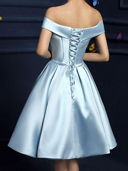 Short Blue Satin Off-the-Shoulder Short Prom Dress, New Blue Homecoming Dress