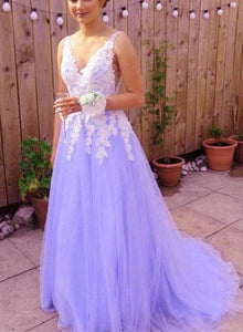 Lavender Tulle Backless Prom Dress with White Lace, Long Formal Dress