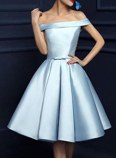 blue off shoulder homecoming dress