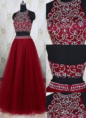 wine red two piece formal dress