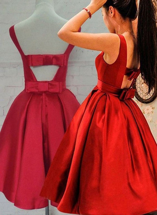 Cute Red Satin Scoop Sleeveless Short Party Dresses, Red Homecoming Dress