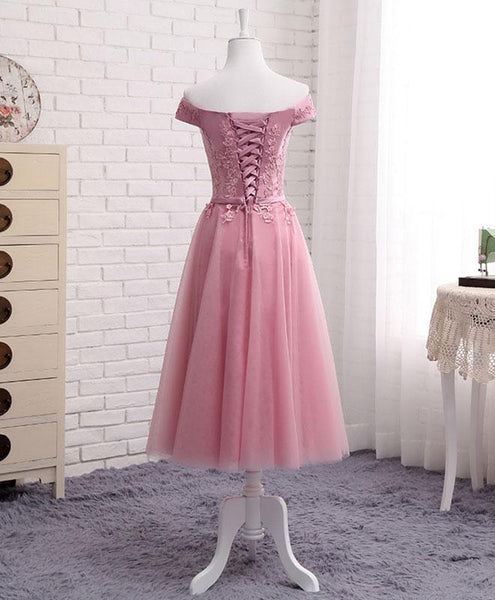 Beautiful Pink Tulle Long Party Dress 2019, Cute Off Shoulder Bridesmaid Dresses