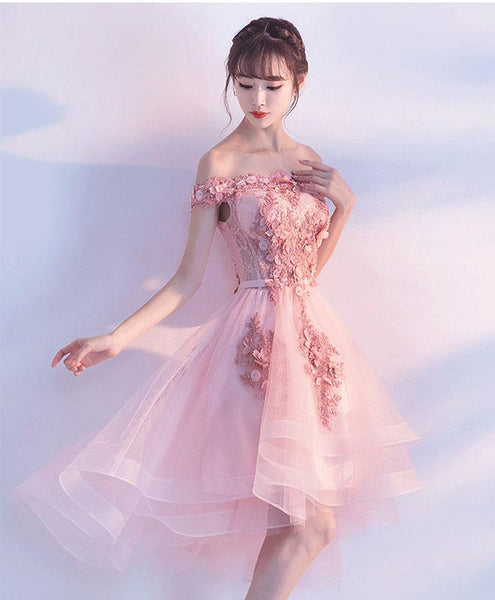 Stylish Pink Off the Shoulder Homecoming Dress, Lovely Pink Party Dress