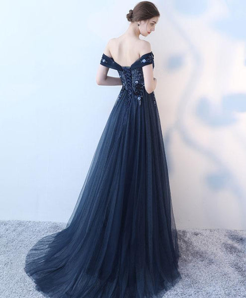 Navy Blue Tulle Off Shoulder Long Party Dress, A-line Tulle Party Dress Evening Dresses