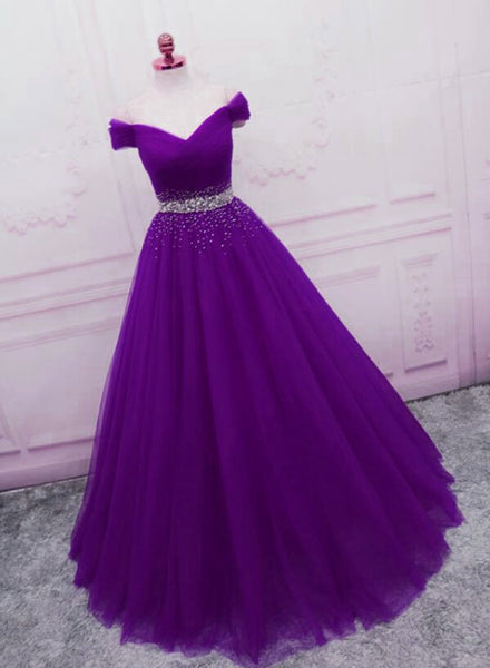 Beautiful Sequins Sweetheart Long Party Dress, Purple Tulle Evening Gown