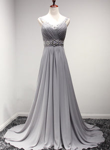 grey chiffon prom dress