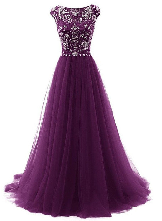 Beautiful Beaded Tulle Long Party Gown, Tulle Cap Sleeves Formal Dresses