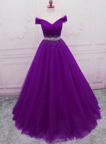 purple tulle long prom dress 2020